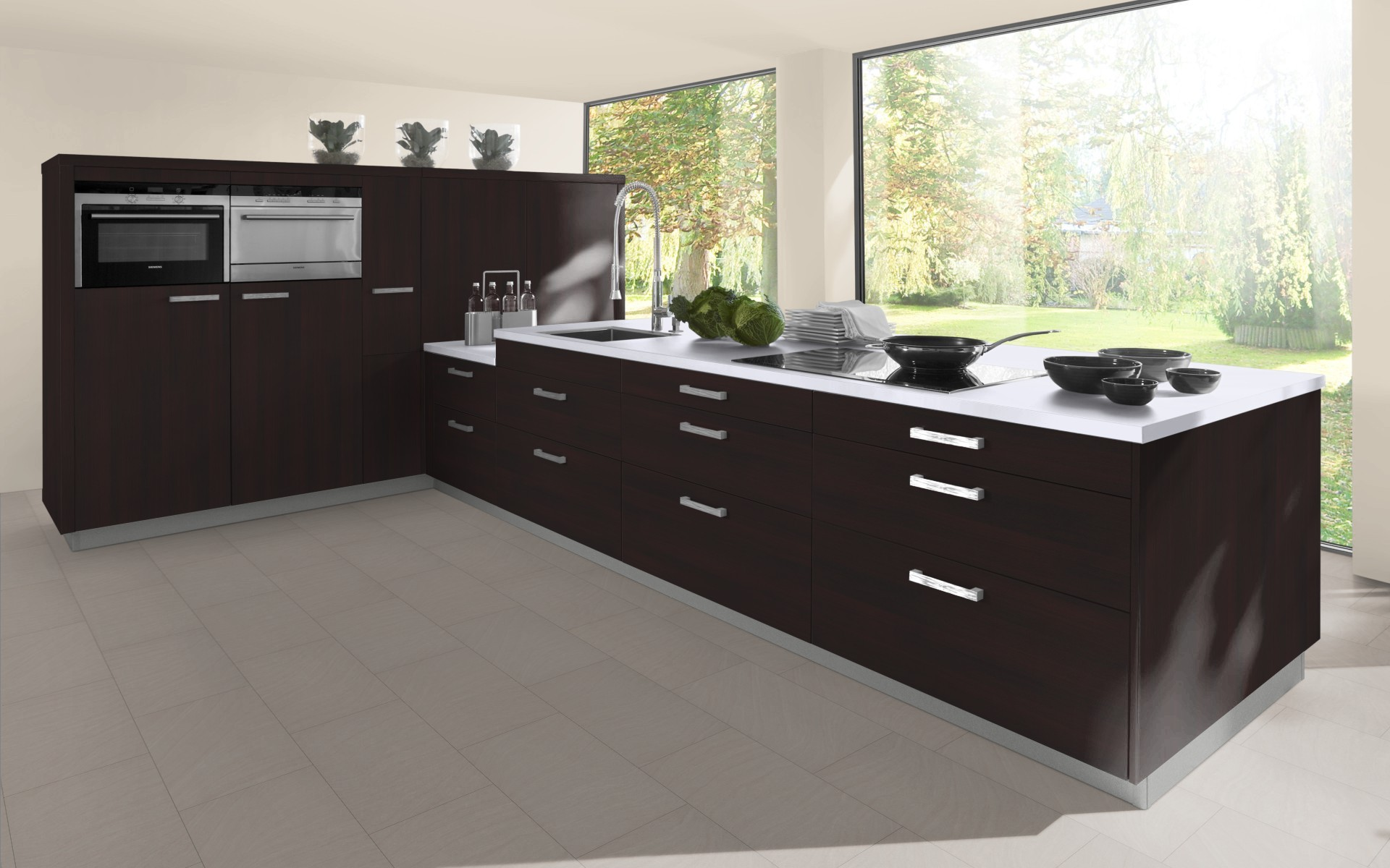 Classic Woodgrain Kitchen Door in Black Brown Ferrara Oak