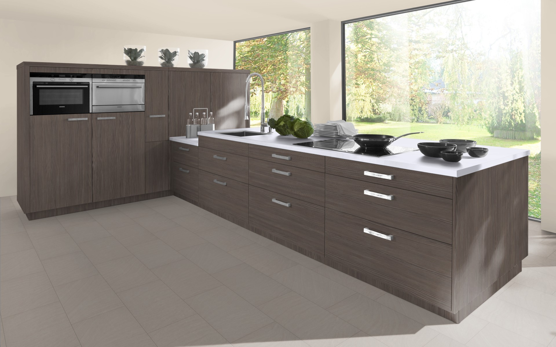Textured Wood Kitchen Door in Brown / Grey Avola