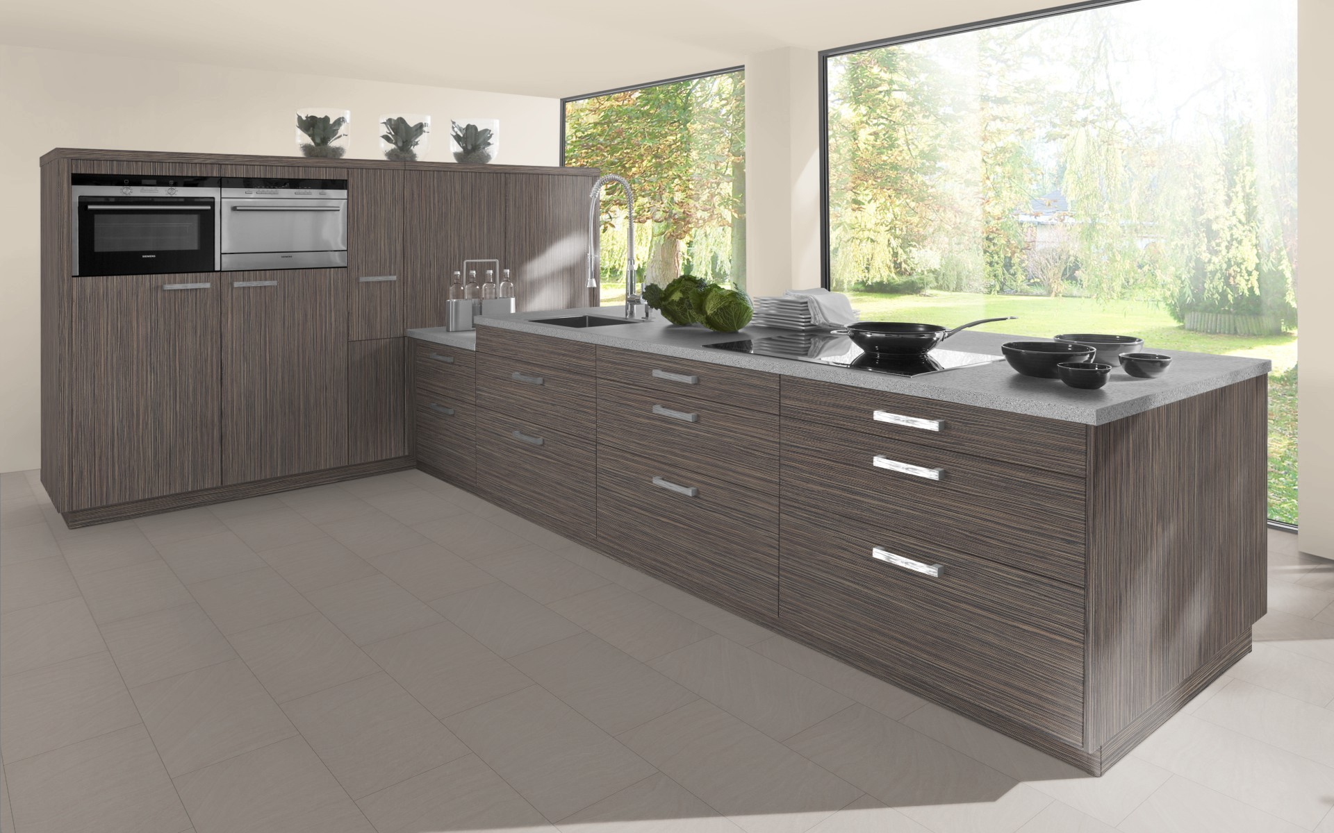 Textured Wood Kitchen Door in Grey Beige Zebrano