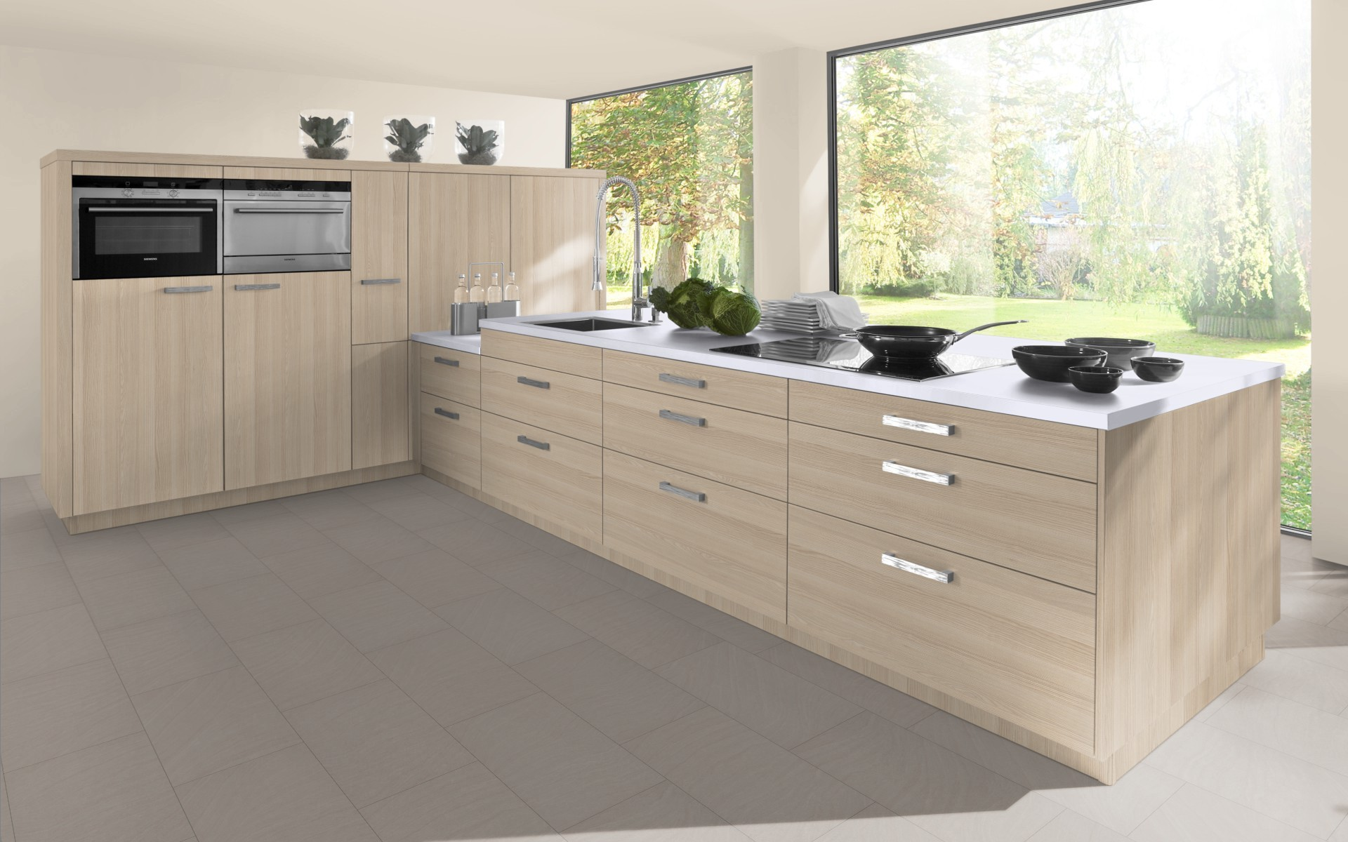 Textured Wood Kitchen Door in Sand Lyon Ash